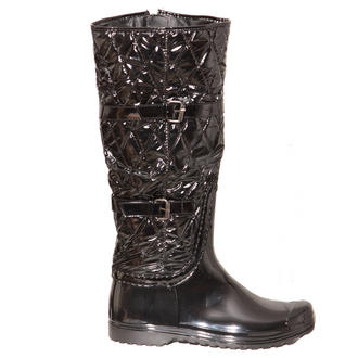 View Item Black Quilted Buckle Wellington Boot